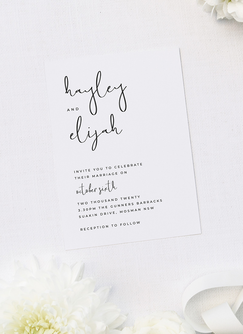 Loose Free Hand Writing Modern Minimal Wedding Invitations