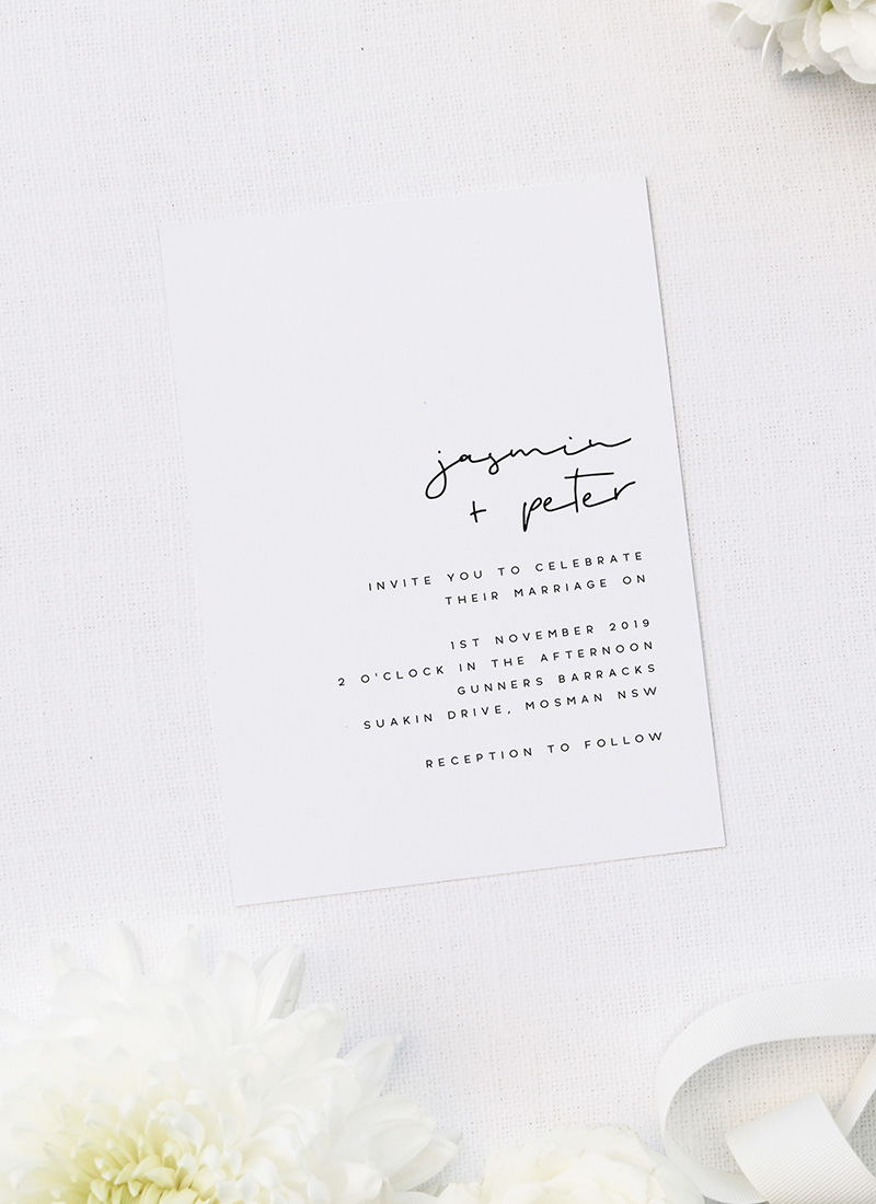 Natural Chic Modern Minimal Hand Writing Wedding Invitations