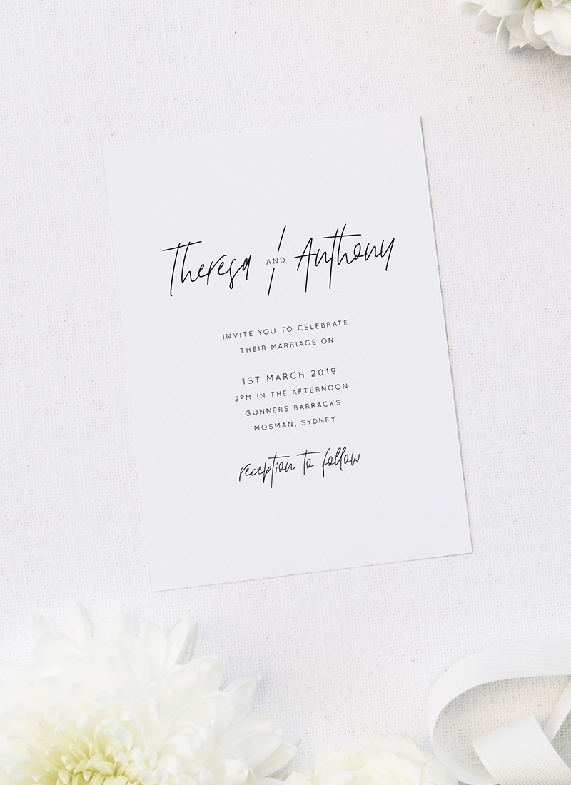 Modern Writing Font Minimal Line Hand Script Wedding Invitations