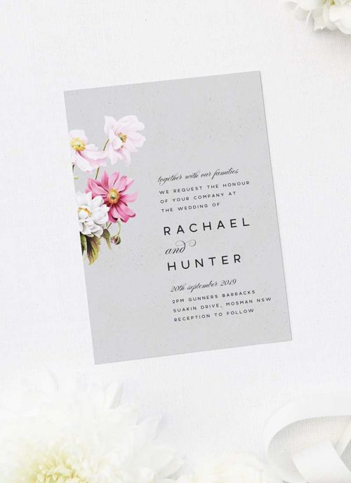 Elegant Grey Floral Wedding Invitations