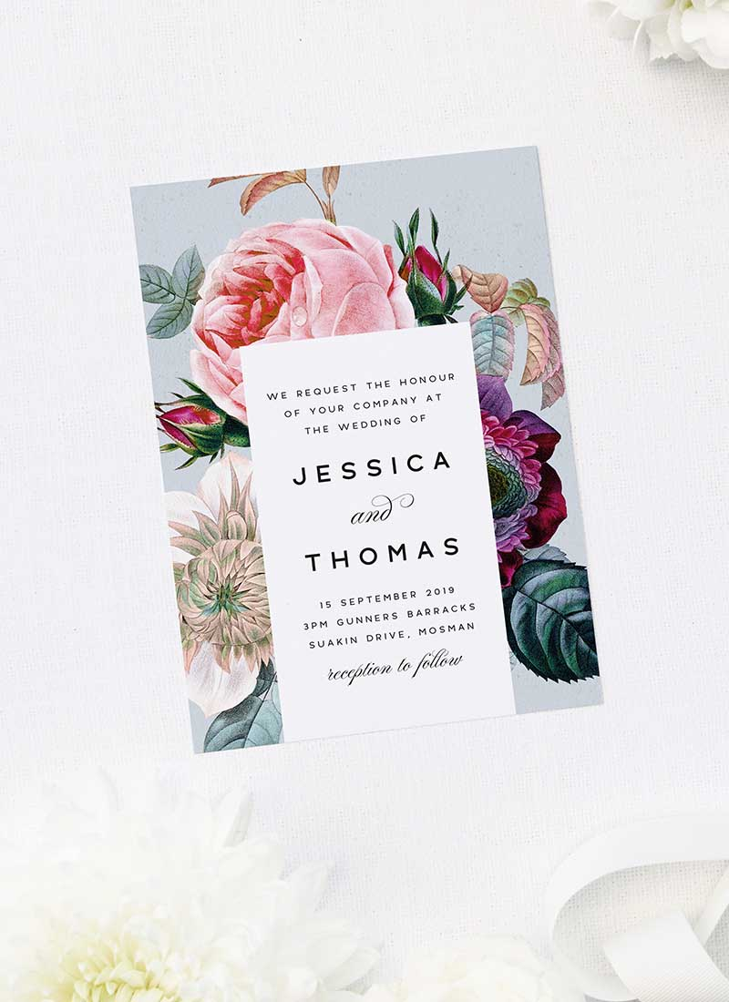 Elegant Rose Bouquet Floral Wedding Invitations