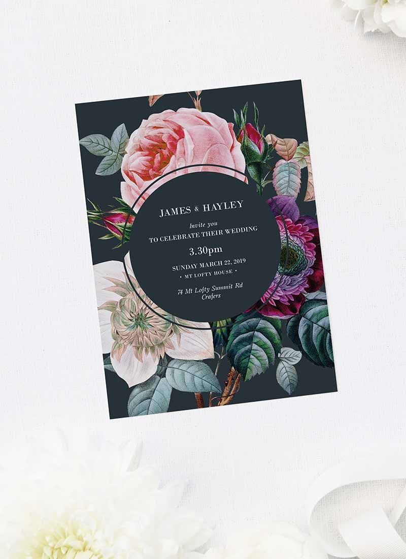 Dark Moody Floral Wedding Invitations Black Wedding Invites Winter flower bouquet pink rose flowers