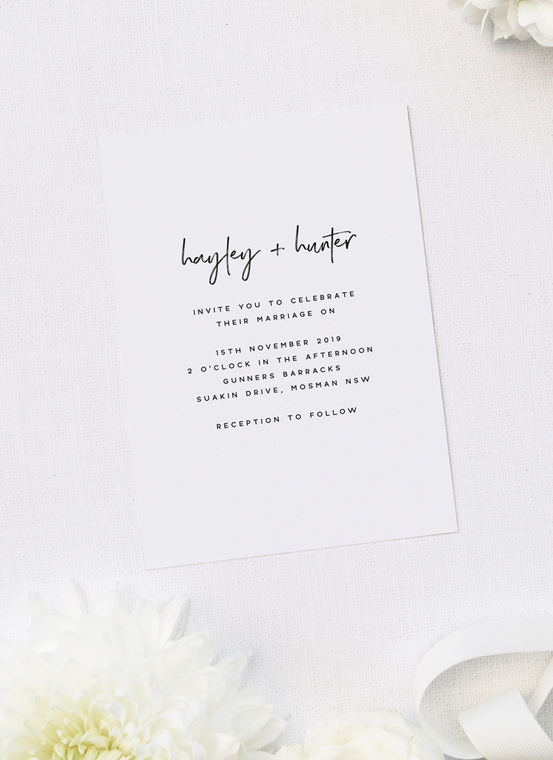 Clean Simple Modern Minimal Brush Script Wedding Invitations