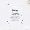 Gold and Blue Confetti Baby Shower Invitations