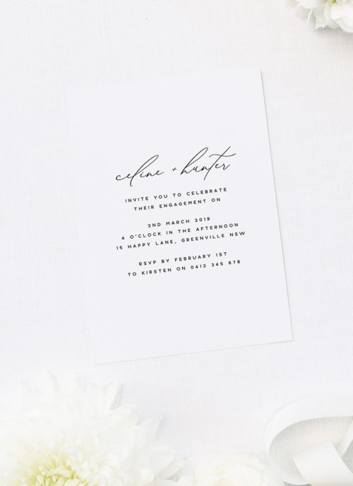 Modern Minimal Calligraphy Script Engagement Invitations