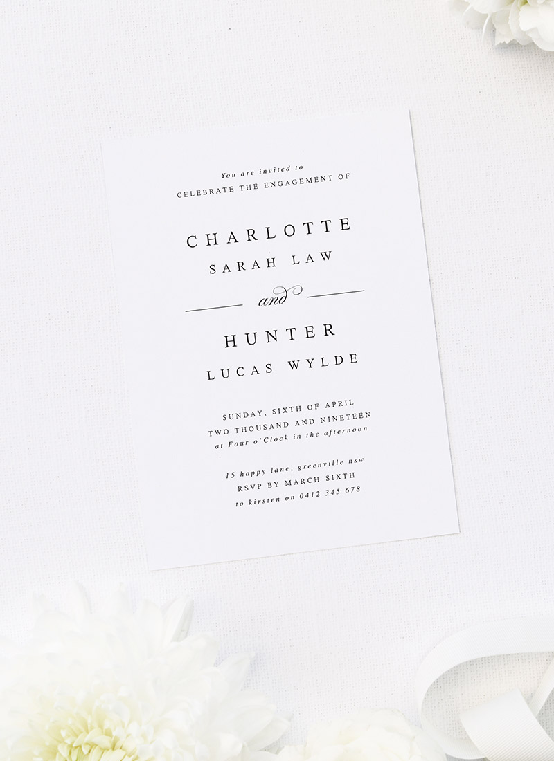 Simple Classy Sophisticated Stylish Engagement Invitations