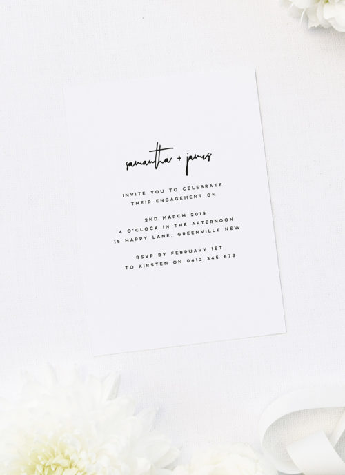 Modern Sophisticated Contemporary Hand Writing Engagement Invitations