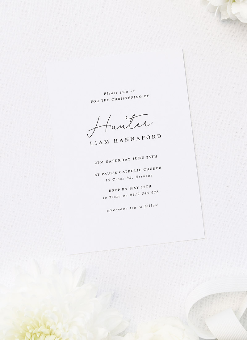 Classy Elegant Sophisticated Christening Invitations