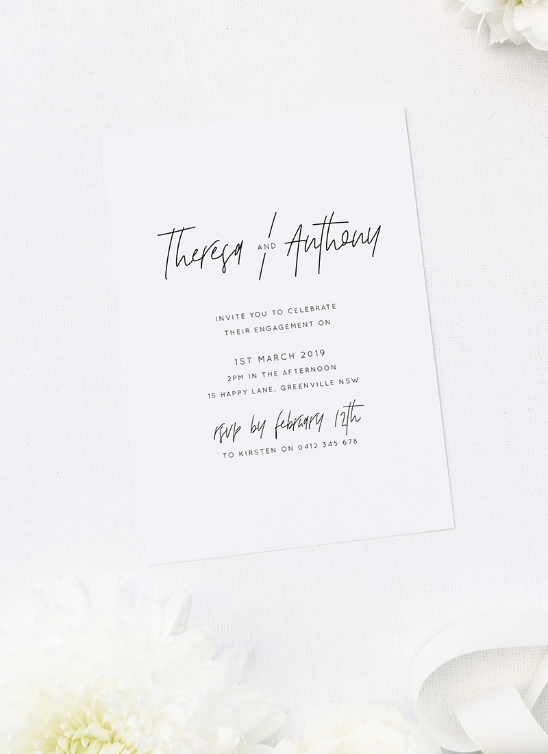 Contemporary Hand Script Font Modern Engagement Invitations