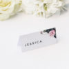 Contemporary Geometric Botanical Name Place Cards Contemporary Geometric Botanical Wedding Invitations Black and White Edgy Striking Layout Modern Flower Pink Floral Bloom