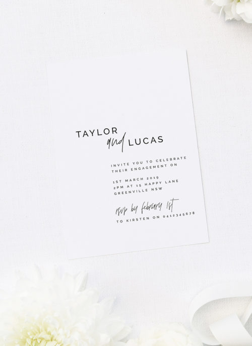 Modern Layout Edgy Font Minimal Engagement Invitations