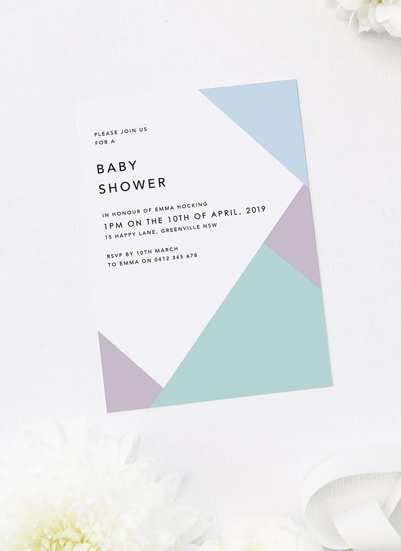 Geometric Pastels Boy Baby Shower Invitations