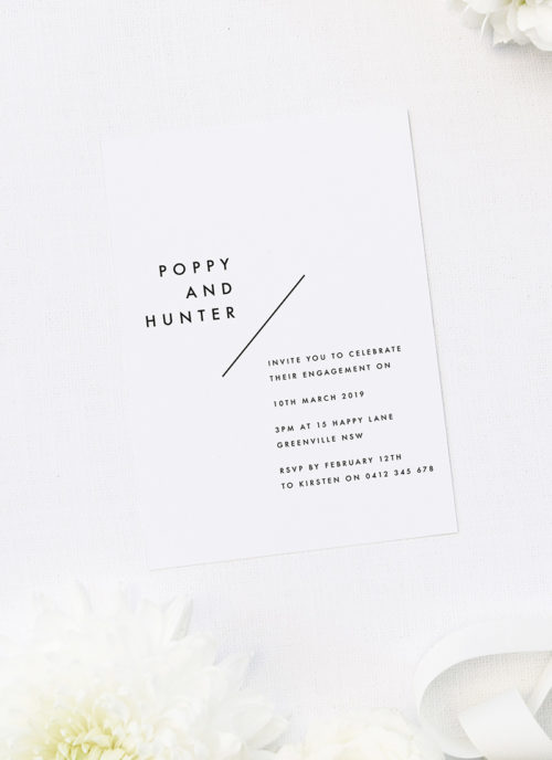 Bold Font Feature Names Modern Engagement Invitations