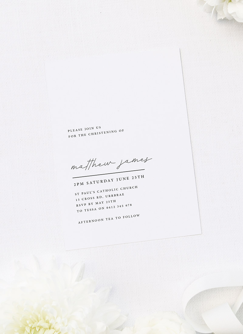 Modern Minimal Simple Christening Invitations