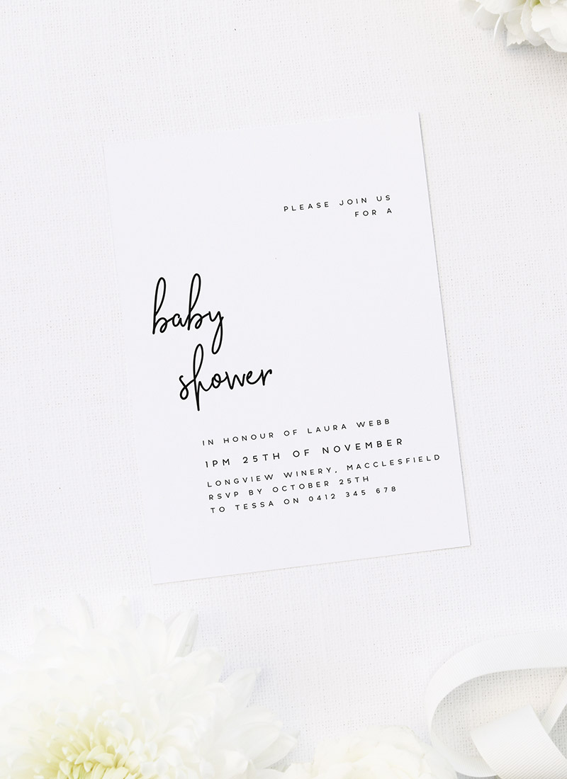 Modern White and Black Unisex Baby Shower Invitations