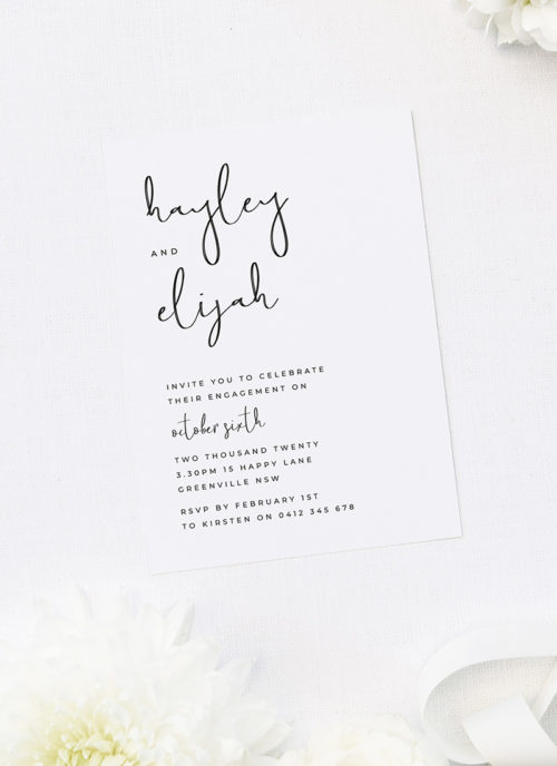 Loose Playful Hand Script Font Engagement Invitations