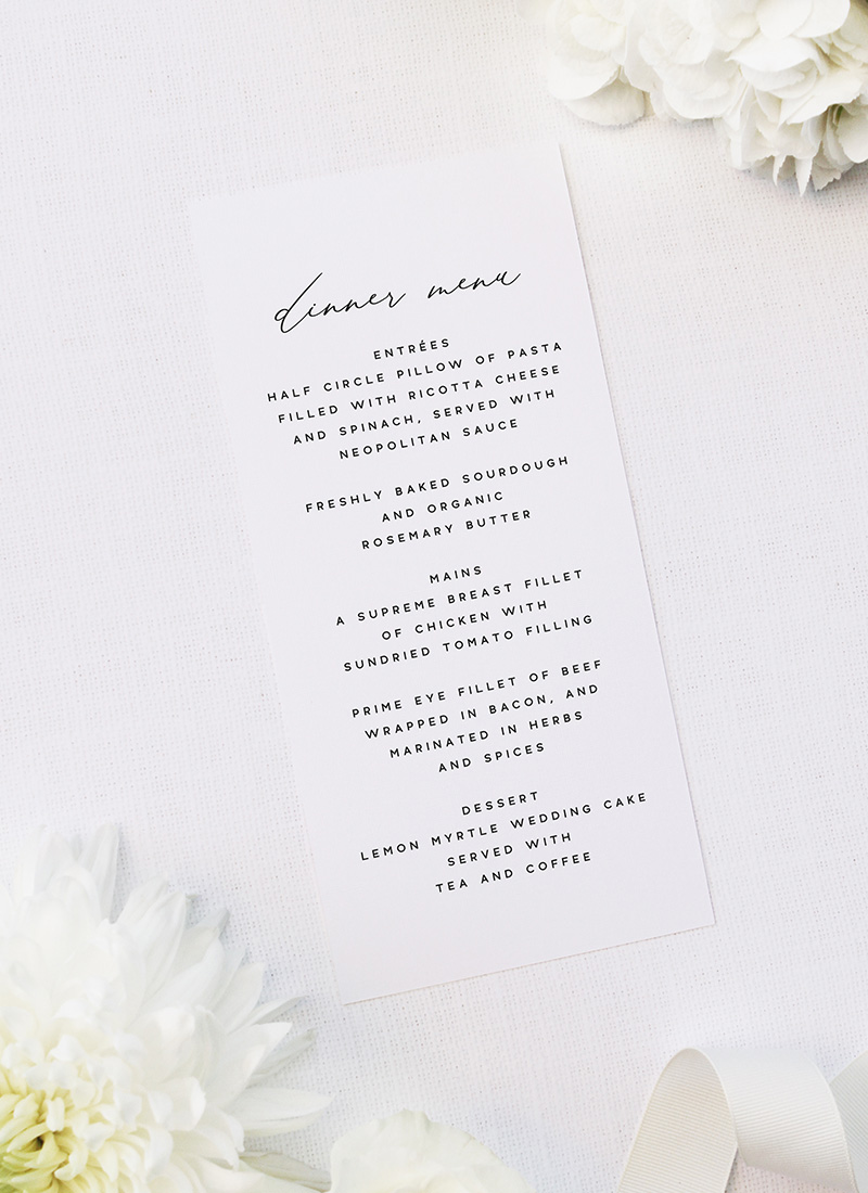 Modern Minimal Calligraphy Wedding Menus Modern Minimal Calligraphy Wedding Invitations