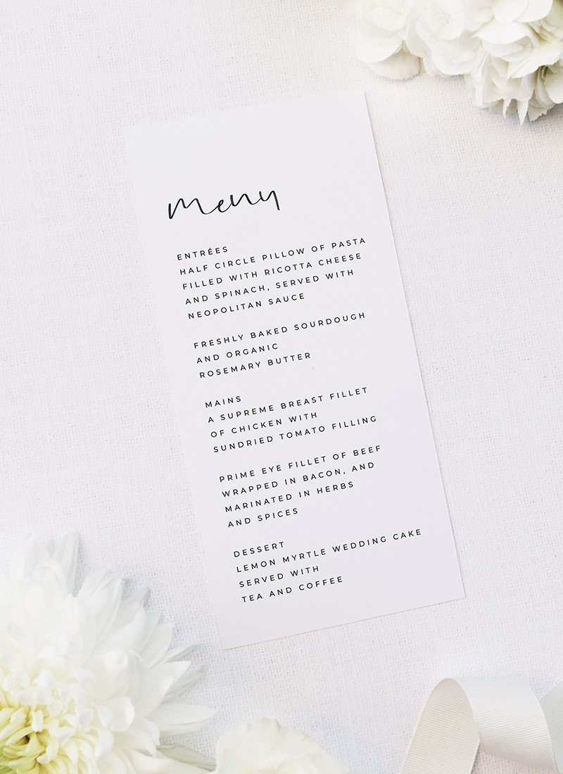 Loose Free Hand Writing Modern Minimal Wedding Menus Loose Free Hand Writing Modern Minimal Wedding Invitations