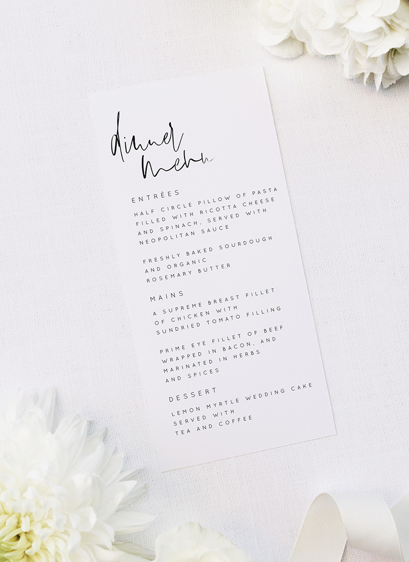 Natural Relaxed Free Modern Minimal Hand Script Wedding Menus Natural Relaxed Free Modern Minimal Hand Script Wedding Invitations