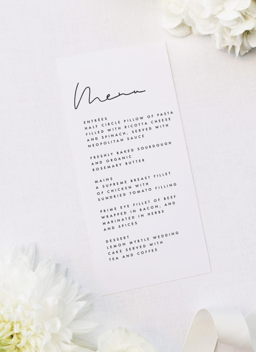 Feature Names Modern Minimal Sophisticated Wedding Menus Feature Names Modern Minimal Sophisticated Wedding Invitations