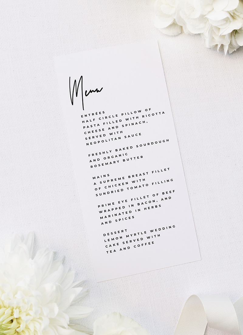 Large Feature Hand Writing Modern Minimal Menus Large Feature Hand Writing Modern Minimal Wedding Invitations