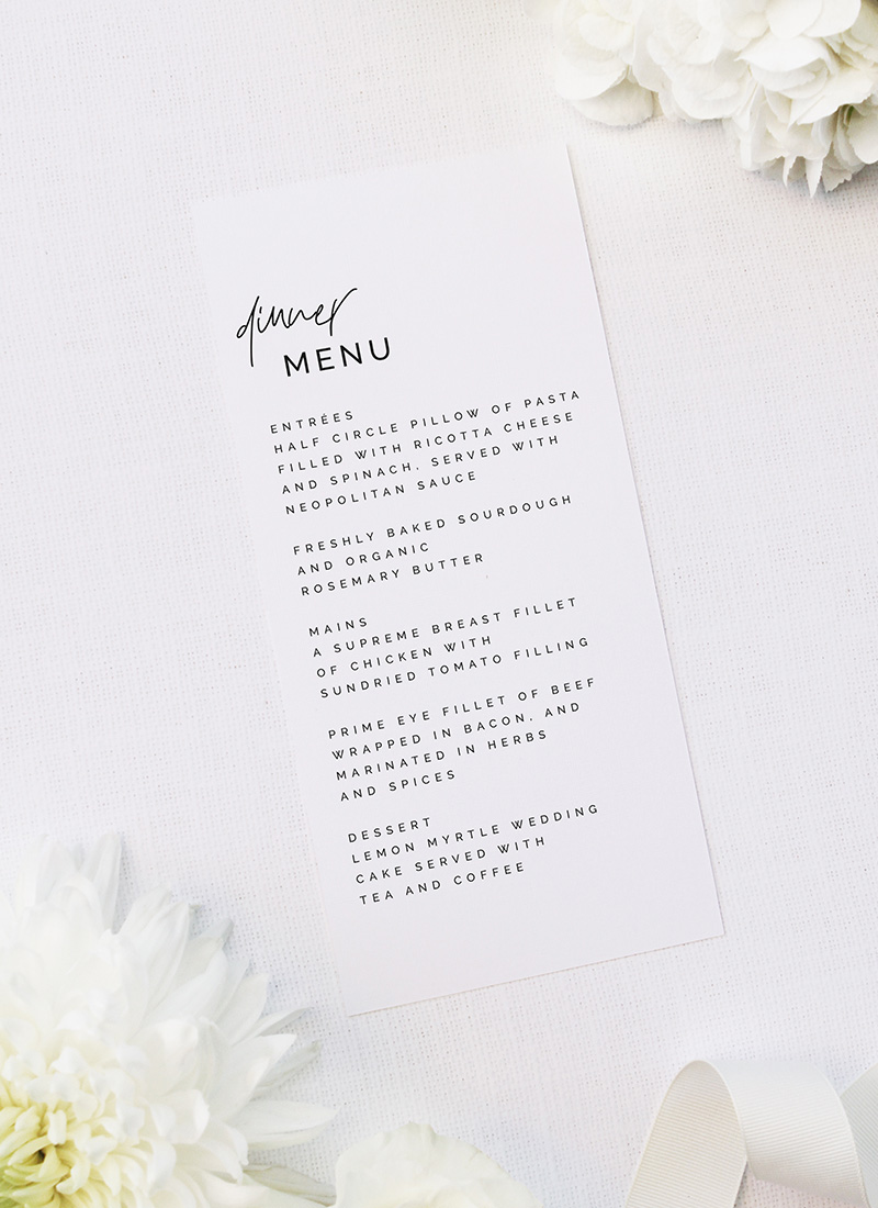 Modern Edgy Fonts Clean Minimal Wedding Menus Modern Edgy Fonts Clean Minimal Wedding Invitations