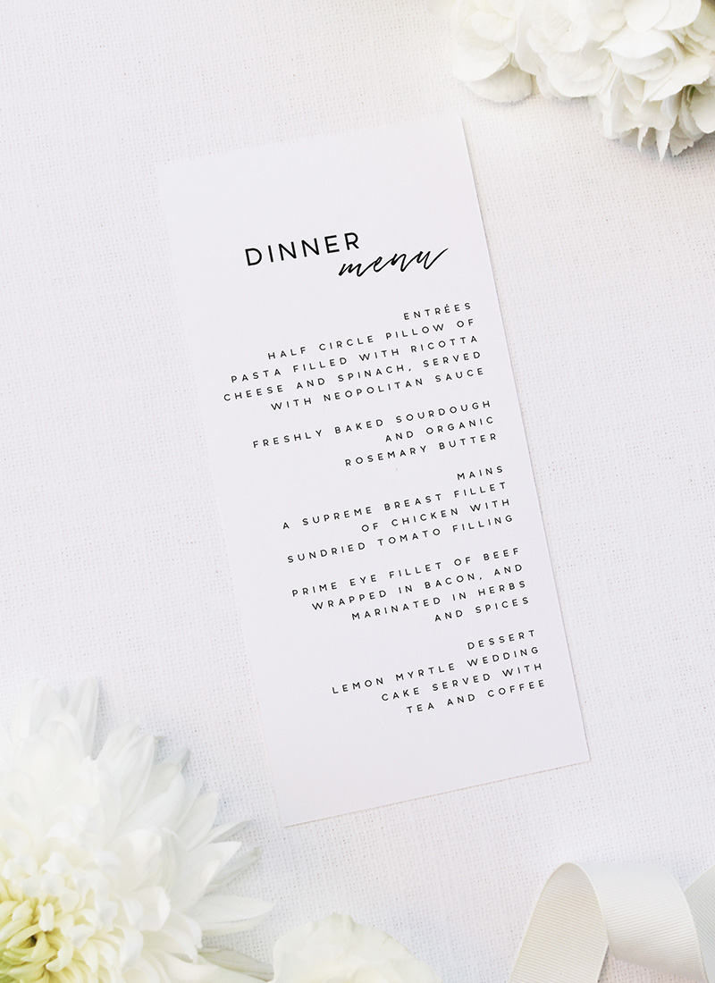 Cursive Hand Script Simple Modern Minimal Wedding Menus Cursive Hand Script Simple Modern Minimal Wedding Invitations