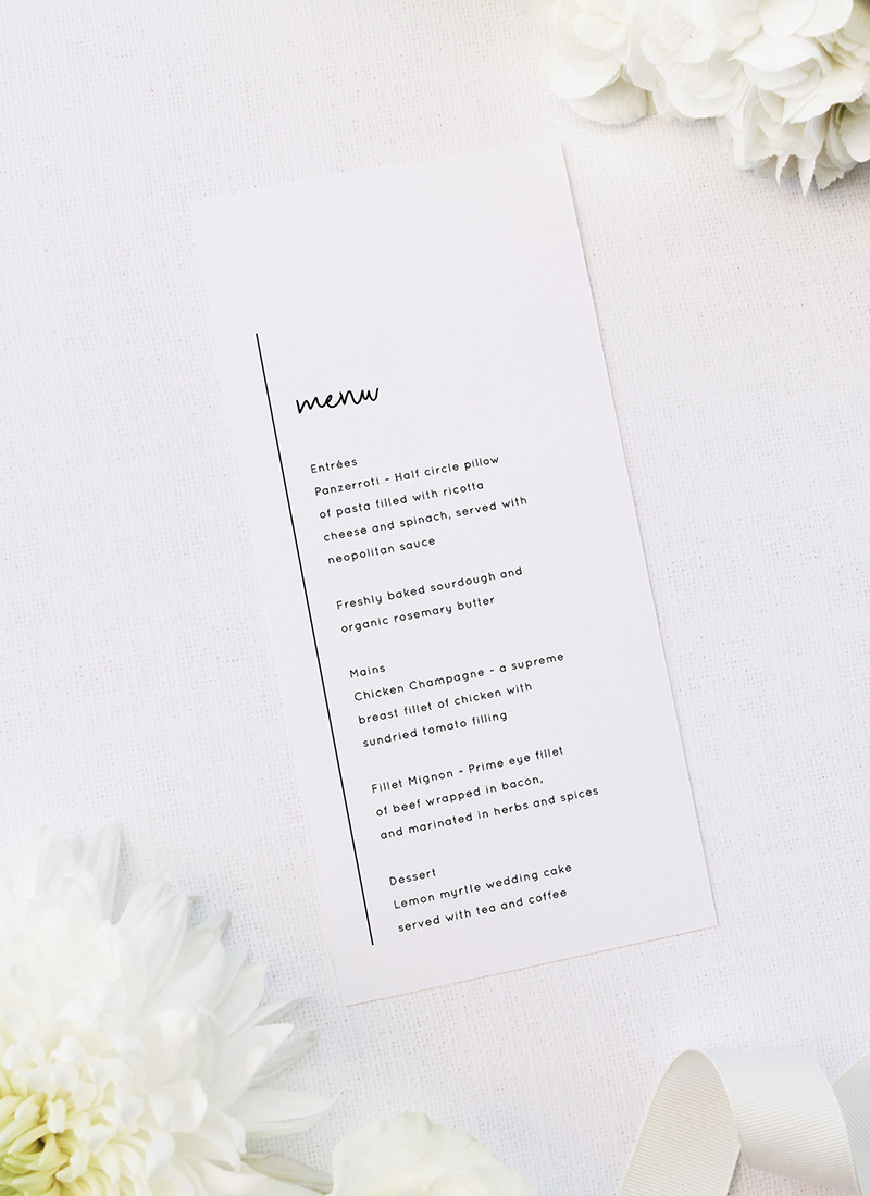 Simple Modern Hand Writing Line Wedding Menus Simple Modern Hand Writing Line Wedding Invitations