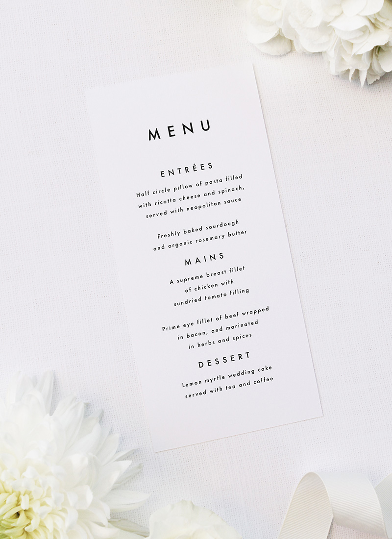 Bold Capital Text Simple Minimal Wedding Menus Bold Capital Text Simple Minimal Wedding Invitations
