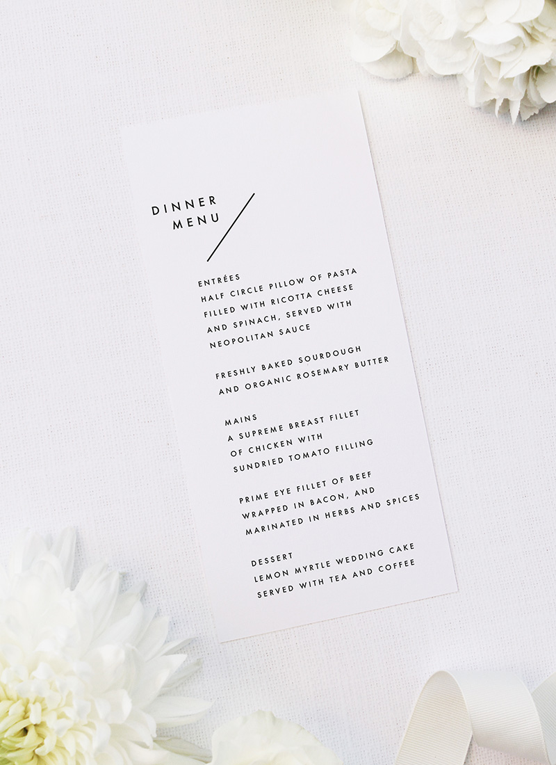 Modern Line Layout Clean Minimal Wedding Menus Modern Line Layout Clean Minimal Wedding Invitations