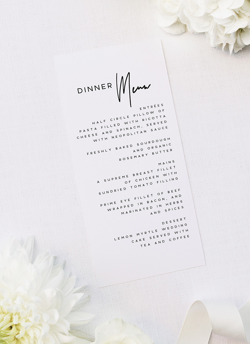 Modern Layout Feature Names Wedding Menus Modern Layout Feature Names Wedding Invitations