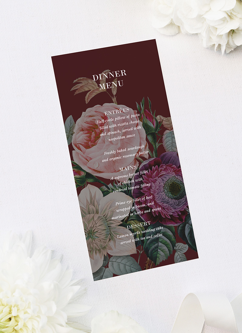Red Burgundy Rose Floral Wedding Menus Red Burgundy Rose Floral Wedding Invitations