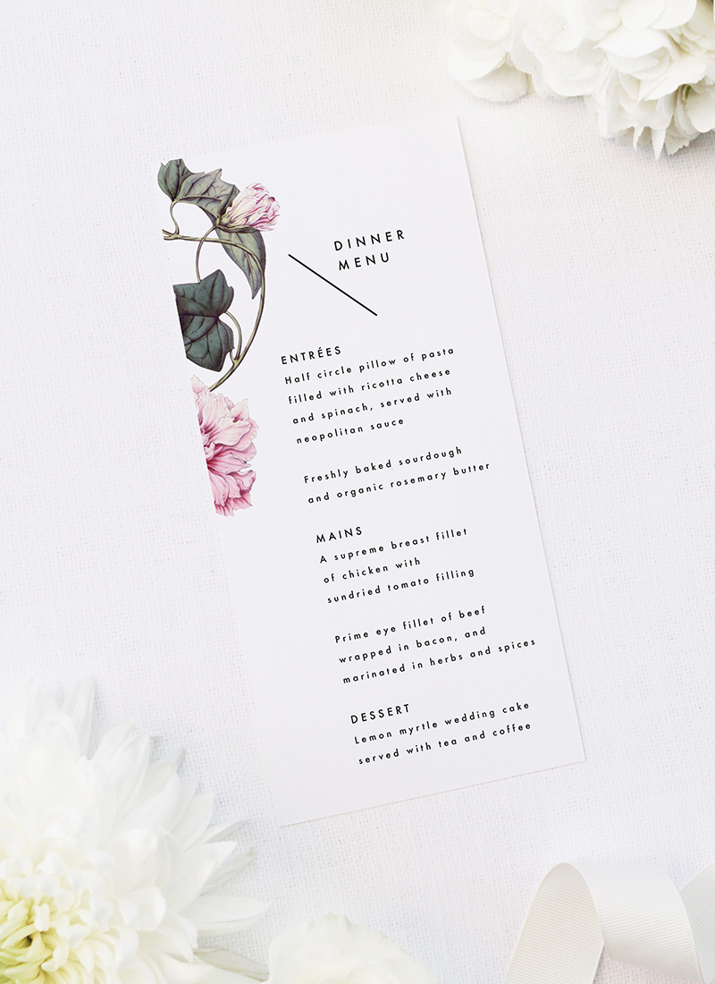 Lush Flower Botanical Vine Wedding Menus Lush Flower Botanical Vine Wedding Invitations