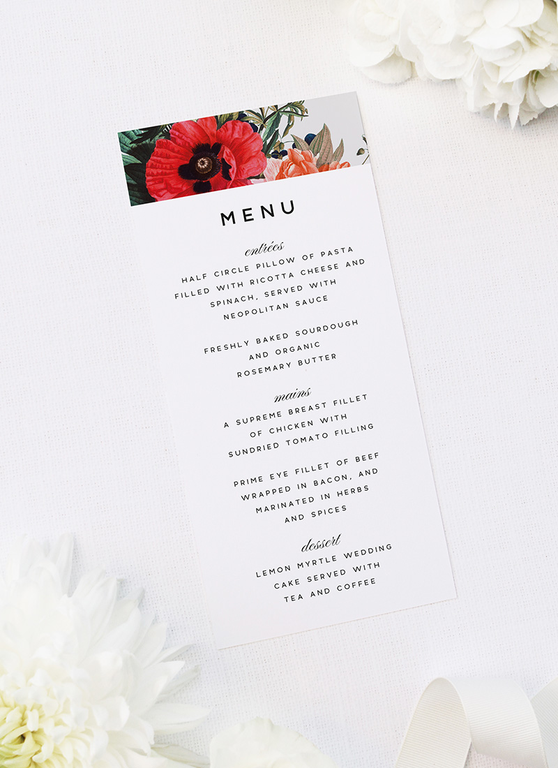 Stunning Floral Bouquet Wedding Menus Stunning Floral Bouquet Wedding Invitations