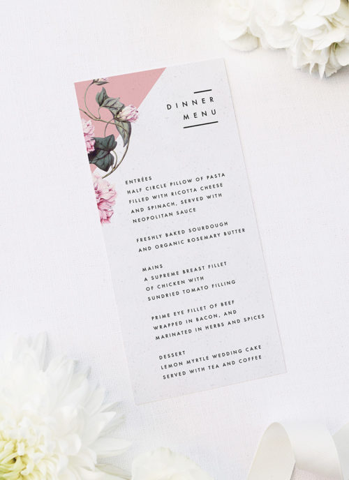 Contemporary Blush Pink Botanical Wedding Menus Contemporary Blush Pink Botanical Wedding Invitations