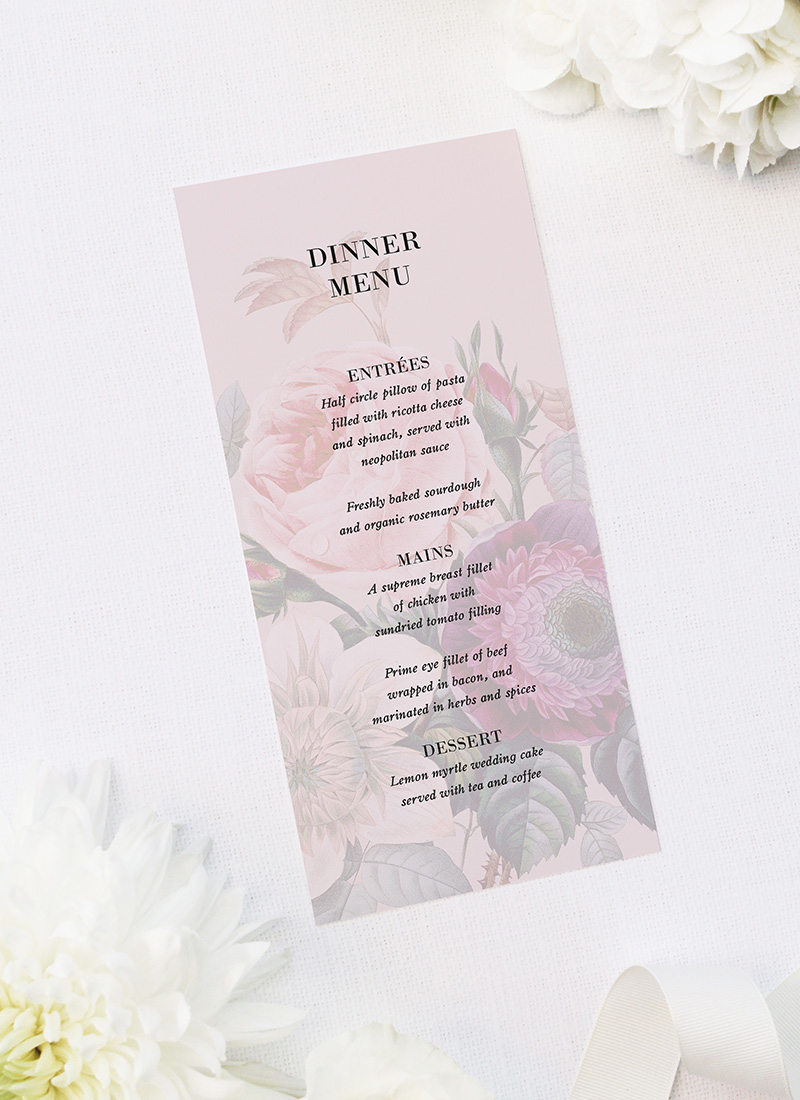 Blush Pink Rose Floral Bouquet Wedding Menus Blush Pink Rose Floral Bouquet Wedding Invitations