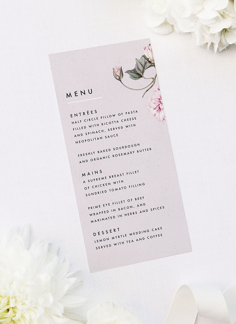 Modern Pink Grey Floral Wedding Menus Modern Pink Grey Floral Wedding Invitations elegant pink flower floral vine leaf greenery