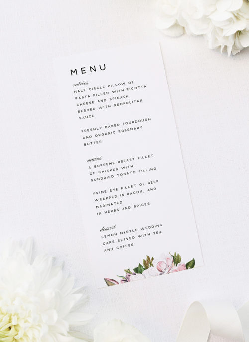 Elegant Magnolia Flowers Wedding Menus Elegant Magnolia Flowers Wedding Invitations