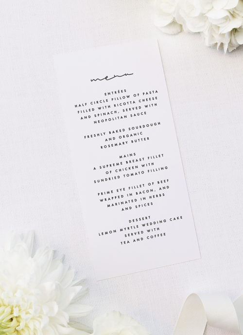 Minimal Contemporary Hand Writing Script Wedding Menus Minimal Contemporary Hand Writing Script Wedding Invitations
