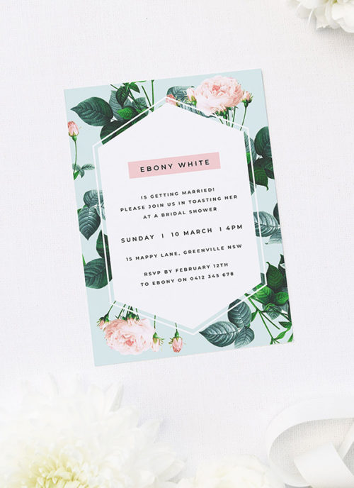 Mint Green Pink Roses Bridal Shower Invitations