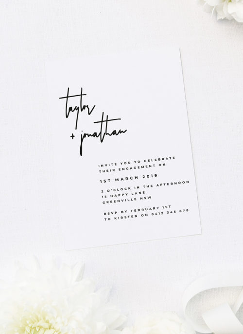 Bold Modern Font Feature Engagement Invitations
