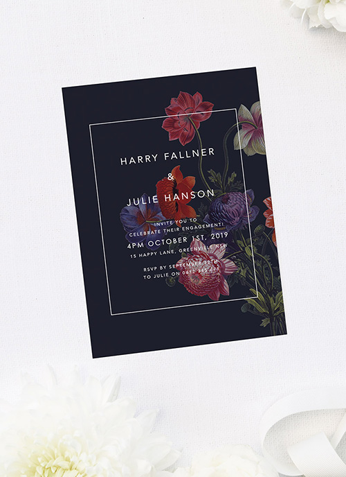 Moody Dark Floral Engagement Invitations