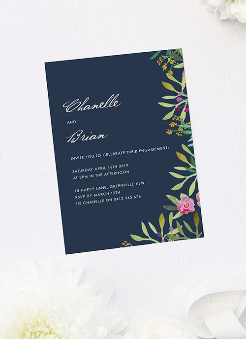 Elegant Navy Botanical Engagement Invitations