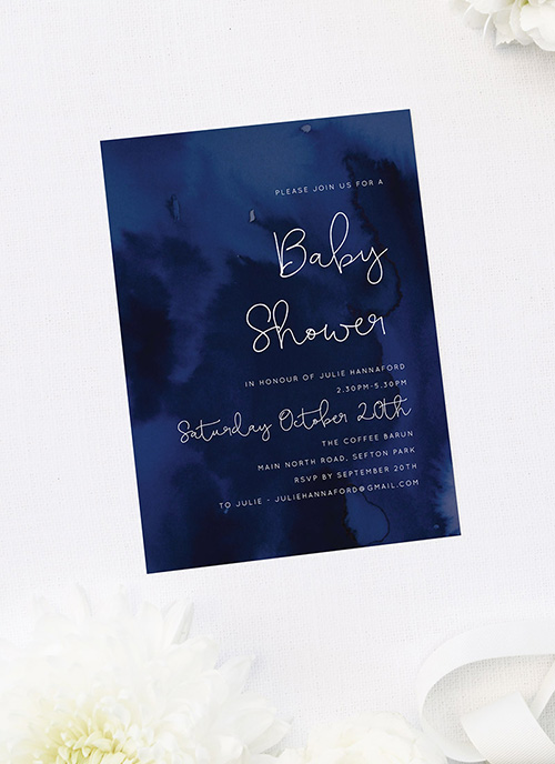 Navy Watercolour Baby Shower Invitations