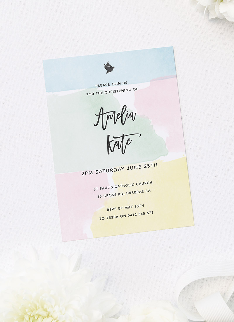 Soft Pastels Christening Invitations