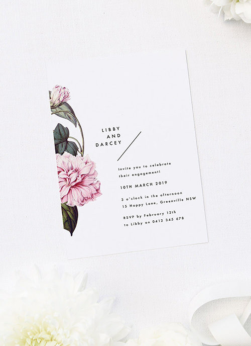 Beautiful Botanical Lush Bloom Vine Engagement Invitations