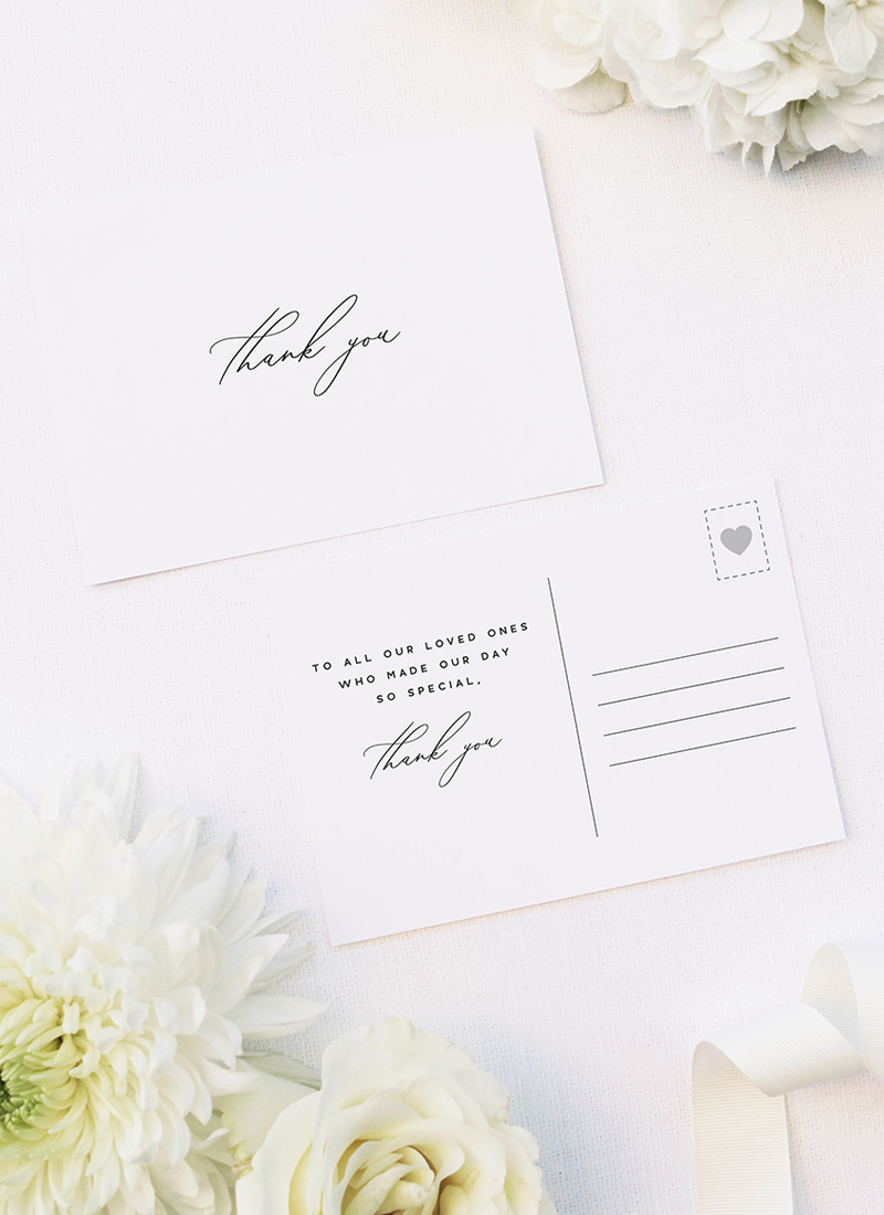 Modern Minimal Calligraphy Wedding Thank You Postcards Modern Minimal Calligraphy Wedding Invitations