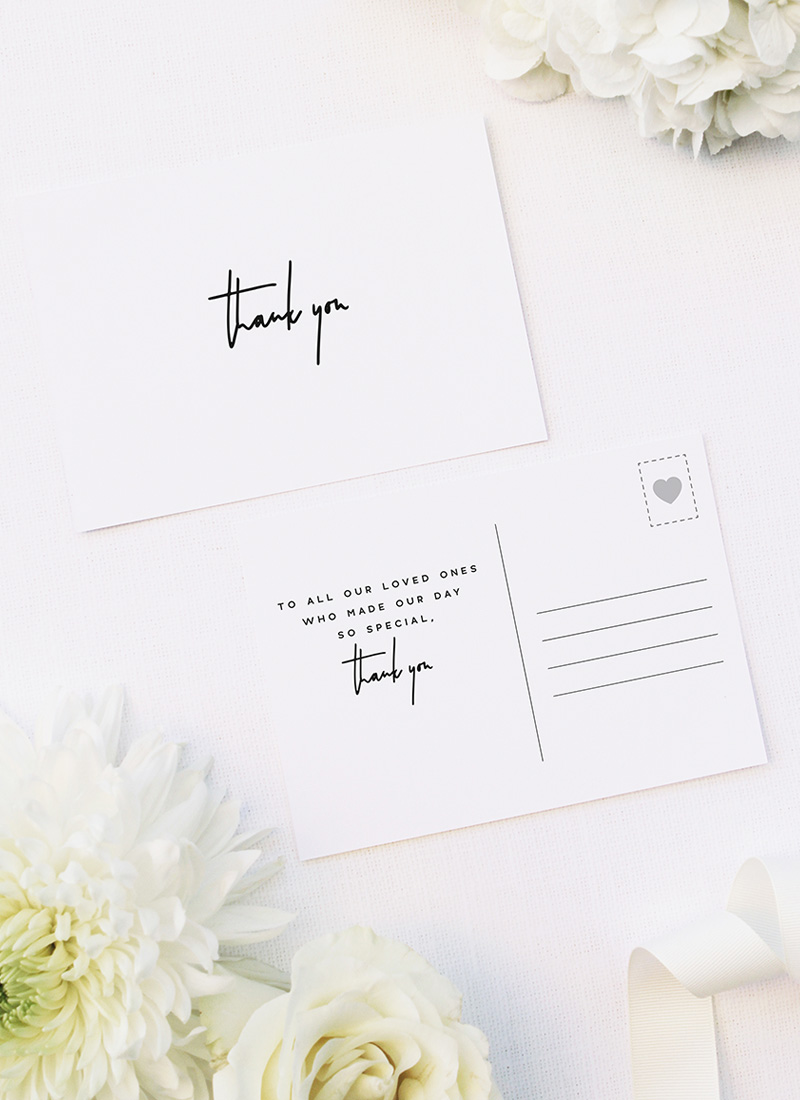 Contemporary Hand Writing Modern Minimal Wedding Thank You Postcards Contemporary Hand Writing Modern Minimal Wedding Invitations