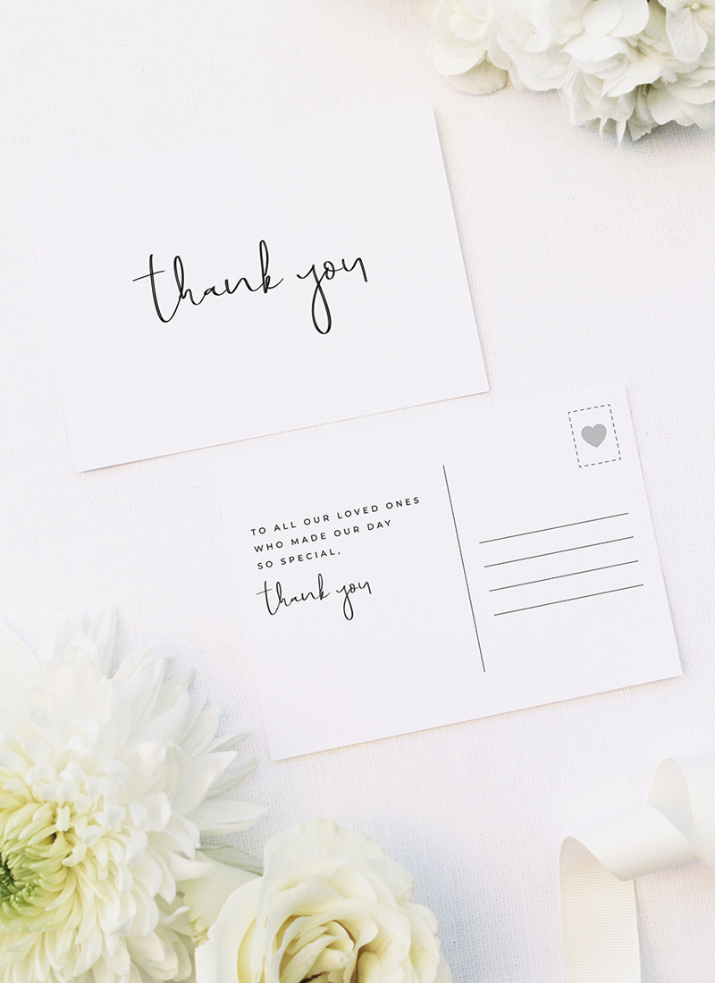 Loose Free Hand Writing Modern Minimal Wedding Thank You Postcards Loose Free Hand Writing Modern Minimal Wedding Invitations