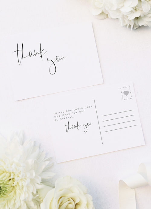 Natural Relaxed Free Modern Minimal Hand Script Wedding Thank You Postcards Natural Relaxed Free Modern Minimal Hand Script Wedding Invitations